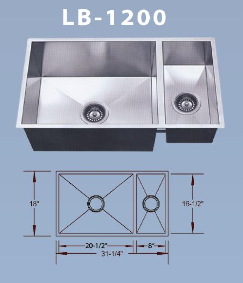 Beautiful LB 1200 BS ESI Stainless Large/Small Bowl Square Undermount Sink