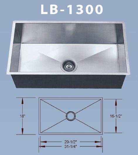 Nice LB 1300 BS ESI Stainless Singl Bowl Square Undermount Sink