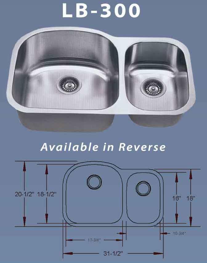 Superior ESI LB 300 Double 16 Gauge Stainless Undermount Kitchen Sink
