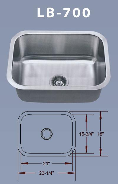 LB 700 BS ESI Stainless Single Rounded Rectangle Undermount Sink