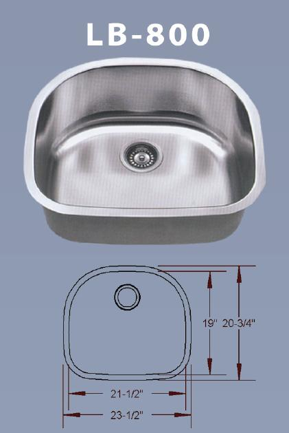 LB 800 BS ESI Stainless Single Bowl D Shaped Undermount Sink